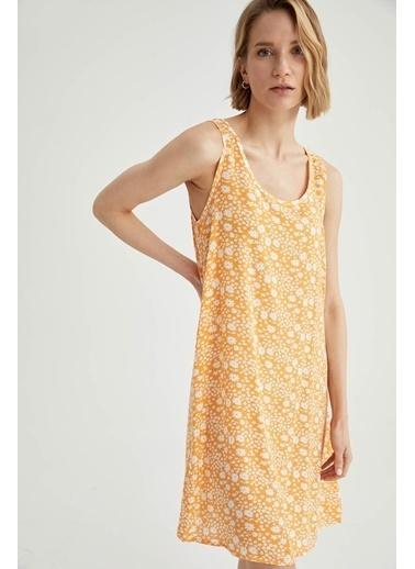 DeFacto Regular Fit Çiçek Desenli Kalın Askılı Elbise Sarı